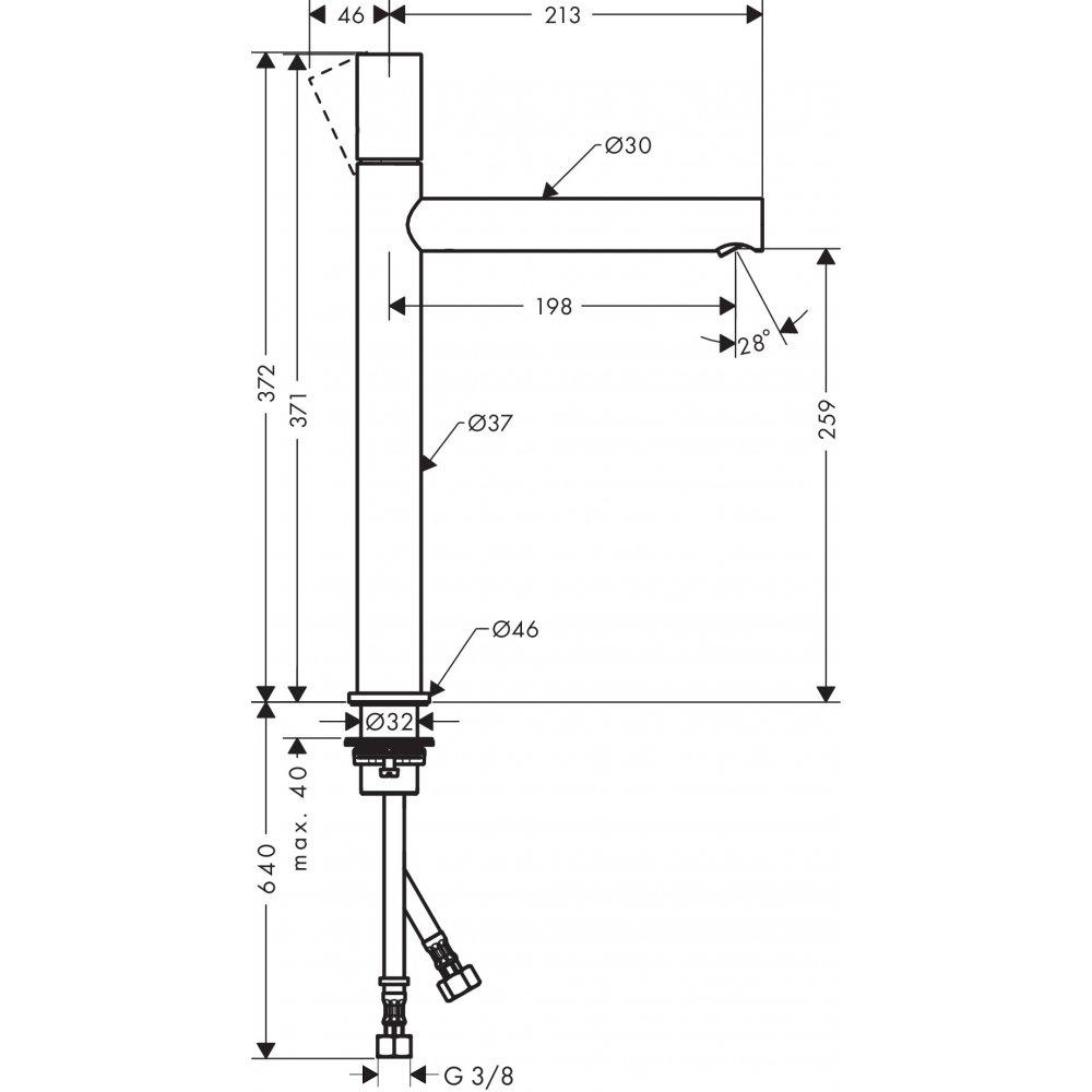 Смеситель AXOR Uno для раковины с высотой излива 260 мм с рукояткой zero с незапираемым сливным набором полированная латунь  45004820
