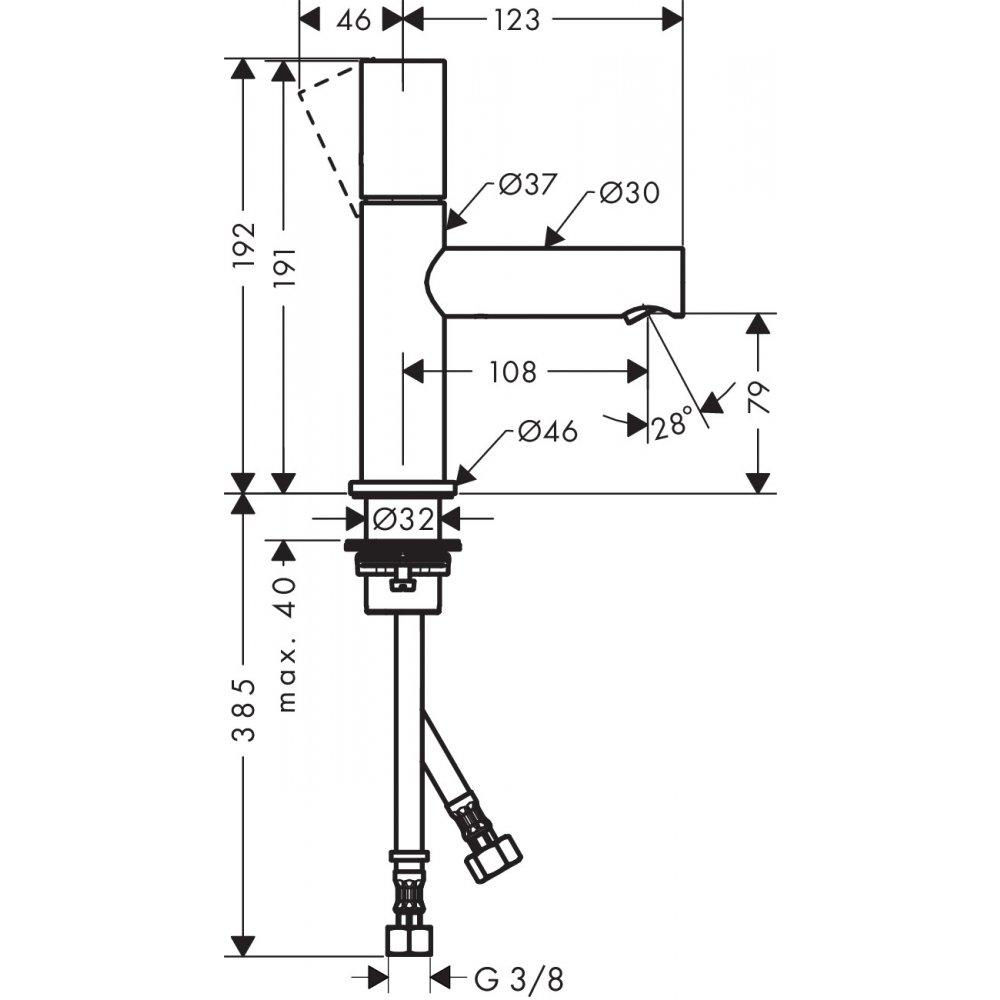Смеситель AXOR Uno для раковины с высотой излива 80 мм с рукояткой zero с незапираемым сливным набором полированная латунь  45005820