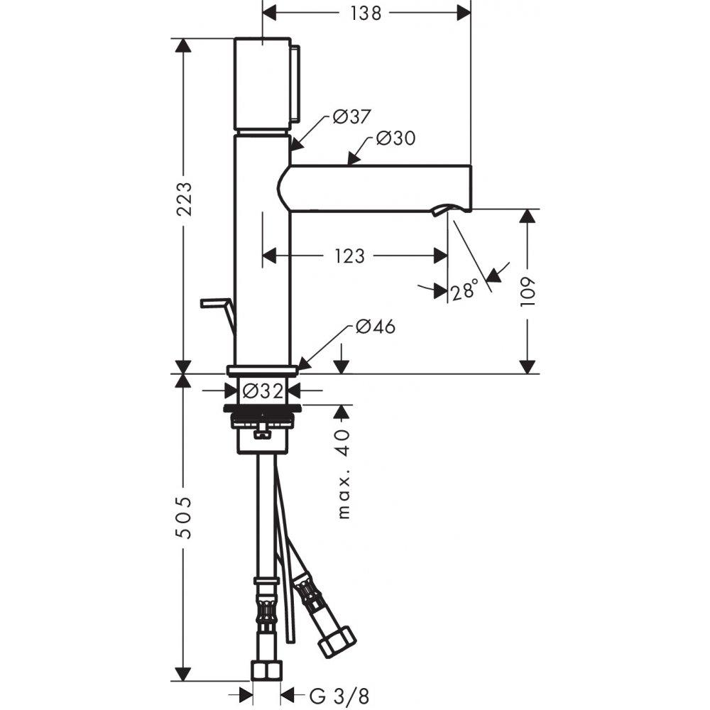 Смеситель AXOR Uno для раковины с высотой излива 110 мм Select со сливным гарнитуром шлифованный никель  45010820