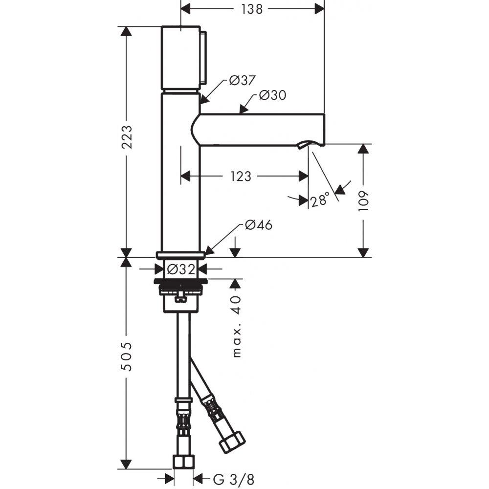 Смеситель AXOR Uno для раковины с высотой излива 110 мм Select с неперекрываемым сливным набором хром  45012000