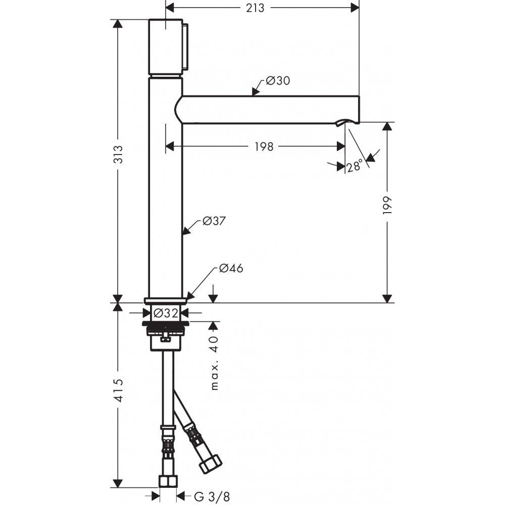 Смеситель AXOR Uno для раковины с высотой излива 200 мм Select с незапираемым сливным набором шлифованный никель  45013000