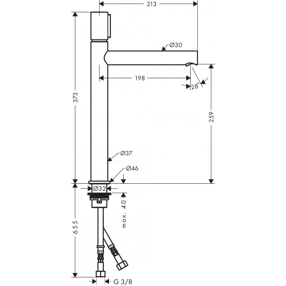 Смеситель AXOR Uno для раковины с высотой излива 260 мм Select с неперекрываемым сливным набором шлифованный никель  45014000