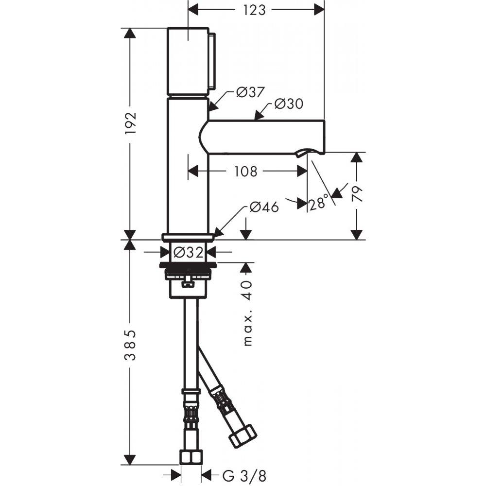 Смеситель AXOR Uno для раковины с высотой излива 80 мм Select с незапираемым сливным набором шлифованный никель  45015000