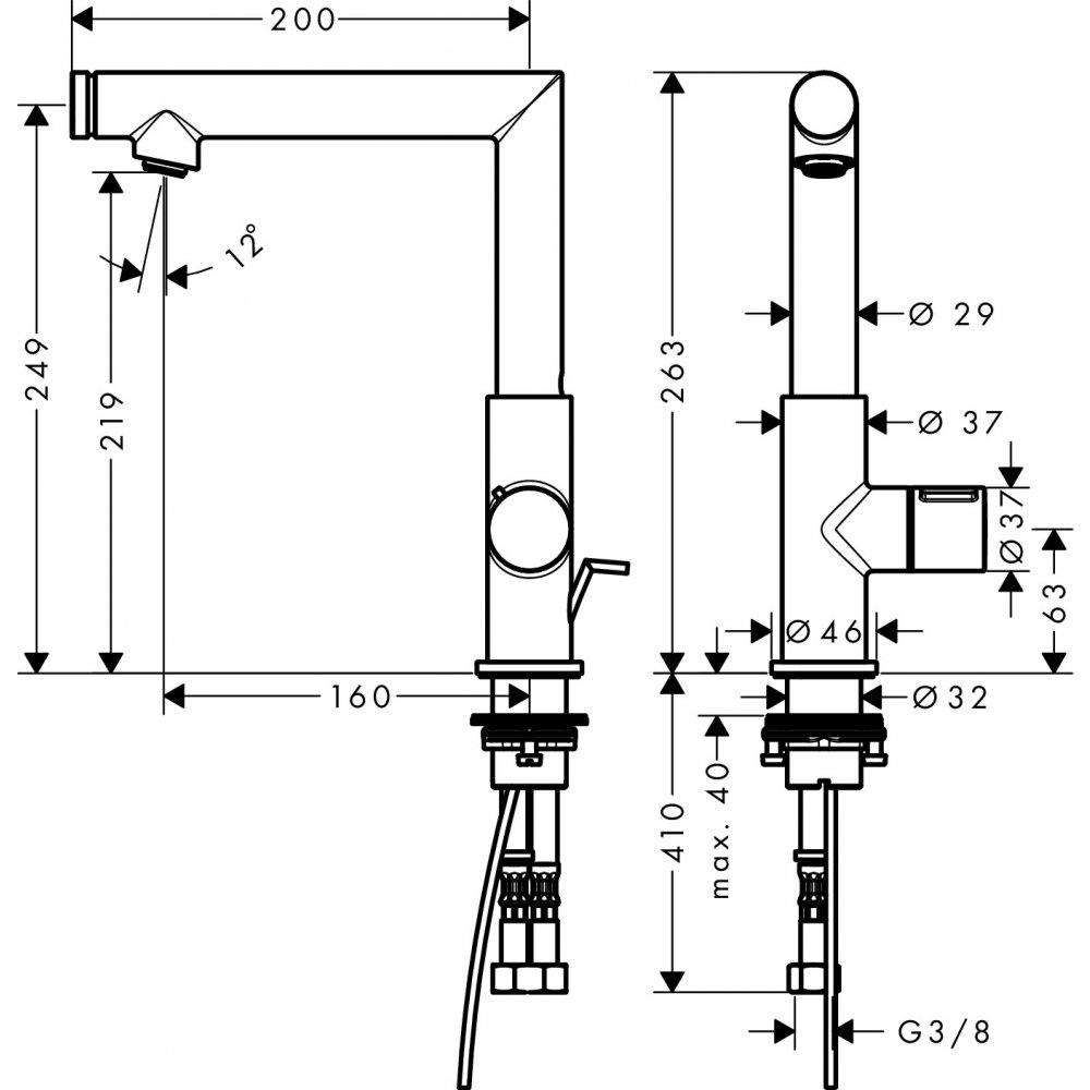 Смеситель AXOR Uno для раковины с высотой излива 220 мм Select со сливным гарнитуром шлифованный никель  45016000
