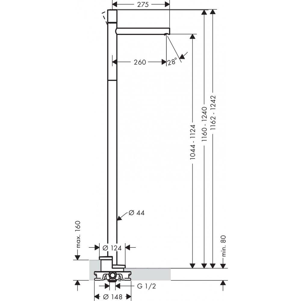 Смеситель AXOR Uno для раковины напольный с рукояткой zero с неперекрываемым сливным набором шлифованный никель  45037000