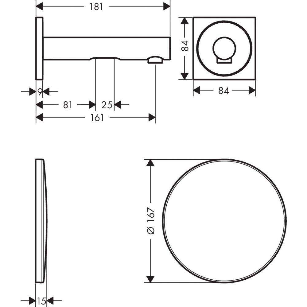 Смеситель AXOR Uno для раковины с высотой излива 160 мм электронный настенный для скрытого монтажа хром  45110000