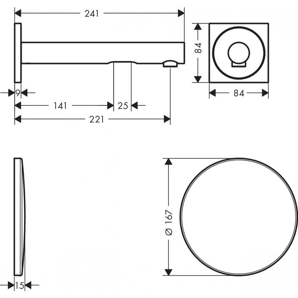 Смеситель AXOR Uno для раковины с высотой излива 220 мм Select настенный для скрытого монтажа хром  45111000