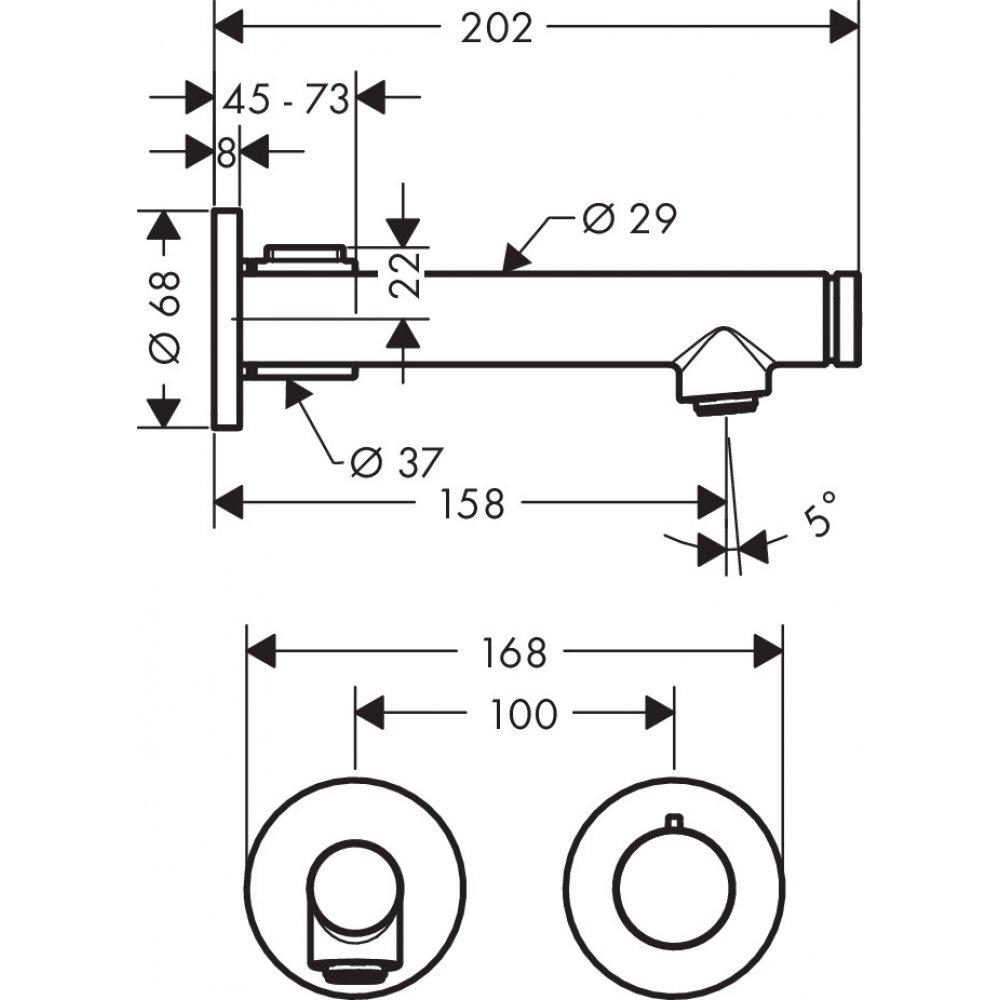 Смеситель AXOR Uno для раковины с высотой излива 165 мм Select с незапираемым сливным набором настенный монтаж и для скрытого монтажа хром  45112000