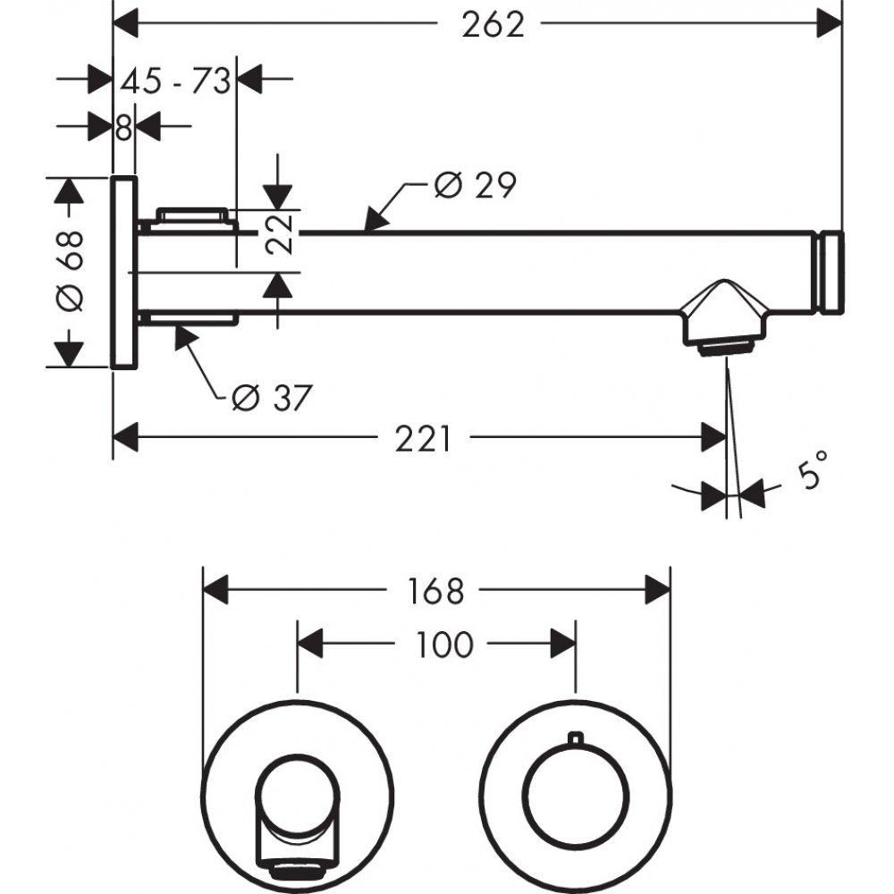 Смеситель AXOR Uno для раковины с высотой излива 220 мм Select настенный для скрытого монтажа шлифованный никель  45113000