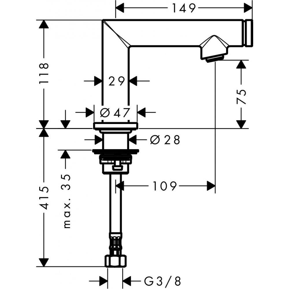 Кран для раковины AXOR Uno Select без сливного набора хром  45130000