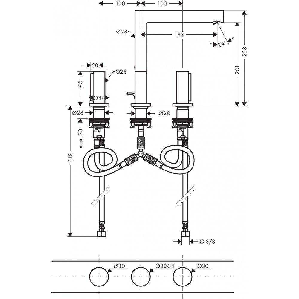 Смеситель AXOR Uno для раковины с высотой излива 200 мм на 3 отверстия с рукояткой zero со сливным гарнитуром шлифованный никель  45133820