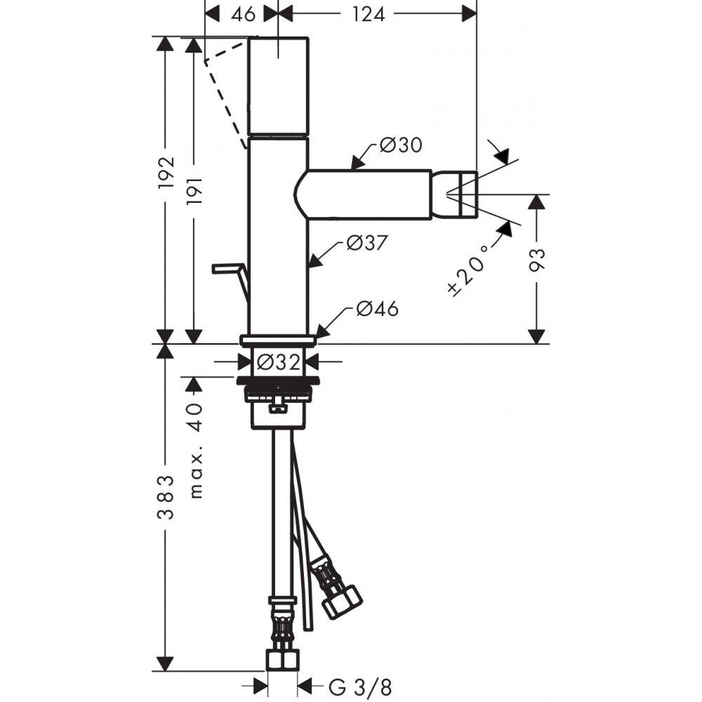 Смеситель для биде AXOR Uno с рукояткой zero со сливным гарнитуром шлифованный никель  45200820