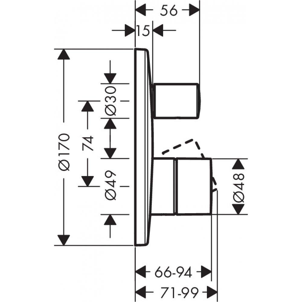 Смеситель для ванны AXOR Uno с рукояткой zero со встроенной защитной комбинацией для скрытого монтажа хром  45407000