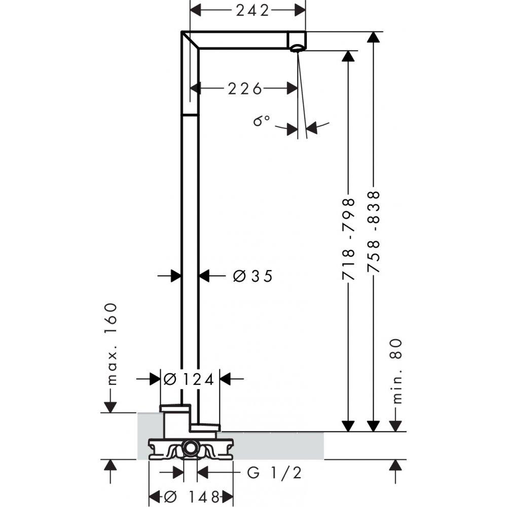 Излив на ванну напольный AXOR Uno шлифованный никель  45412820