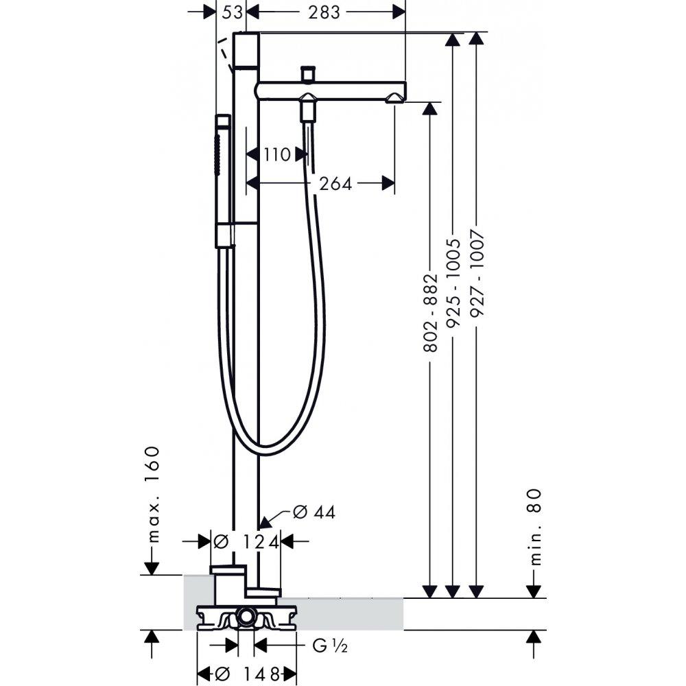 Смеситель для ванны AXOR Uno напольный AXOR с рукояткой zero шлифованный никель  45416820