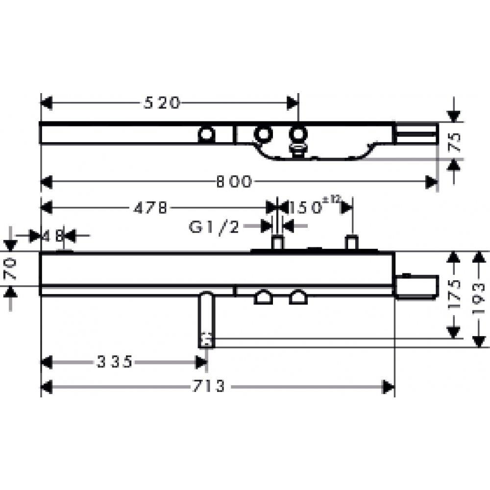 Термостат AXOR ShowerSolutions для ванны 800 внешнего монтажа шлифованный никель  45420000