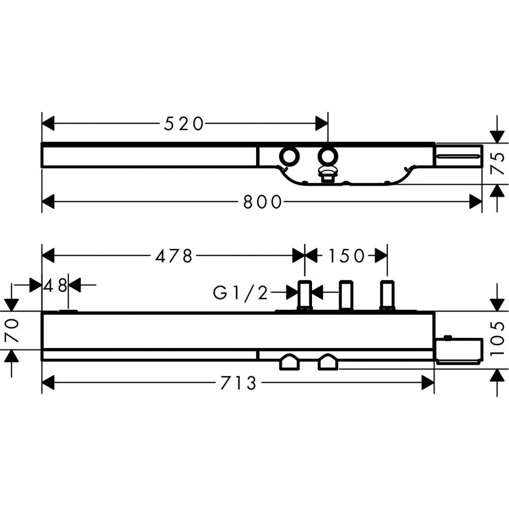 Термостат AXOR ShowerSolutions 800 внешний/скрытый монтаж шлифованный никель  45440000