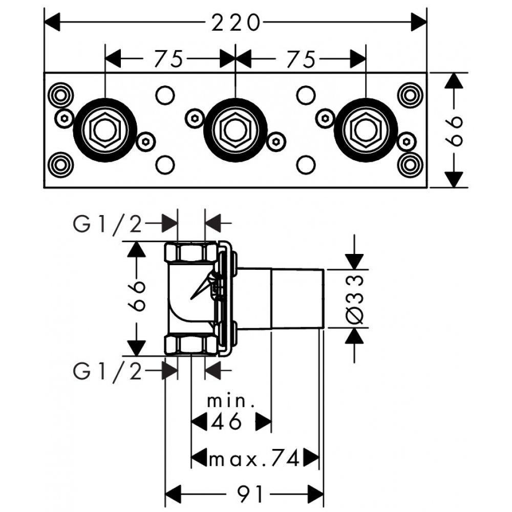 Скрытая часть AXOR для термостата 800  45442180