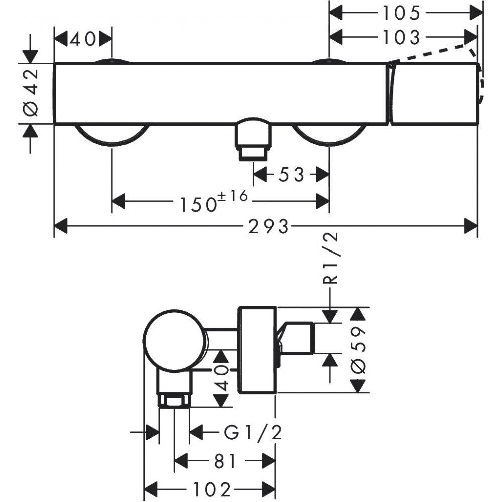 Смеситель для душа AXOR Uno с рукояткой Zero внешнего монтажа хром  45600000