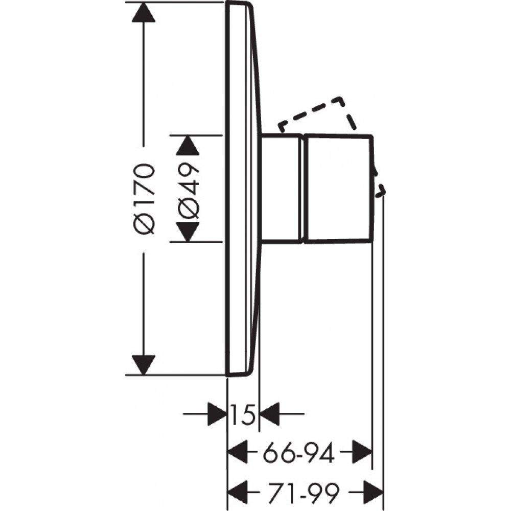 Смеситель для душа AXOR Uno с рукояткой Zero для скрытого монтажа хром  45605000