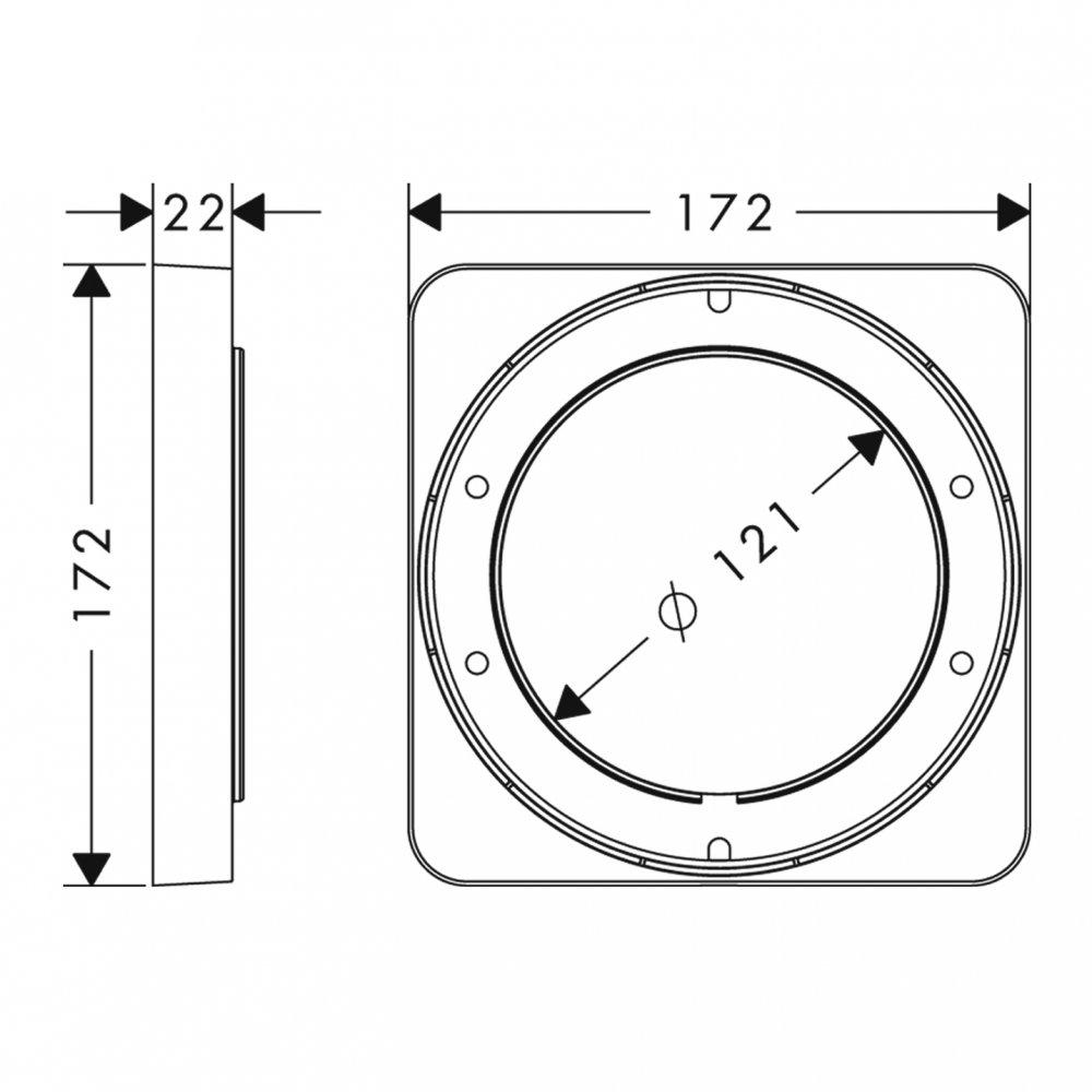 Розетка удлинителя AXOR 172 мм x 172 мм хром  98860000