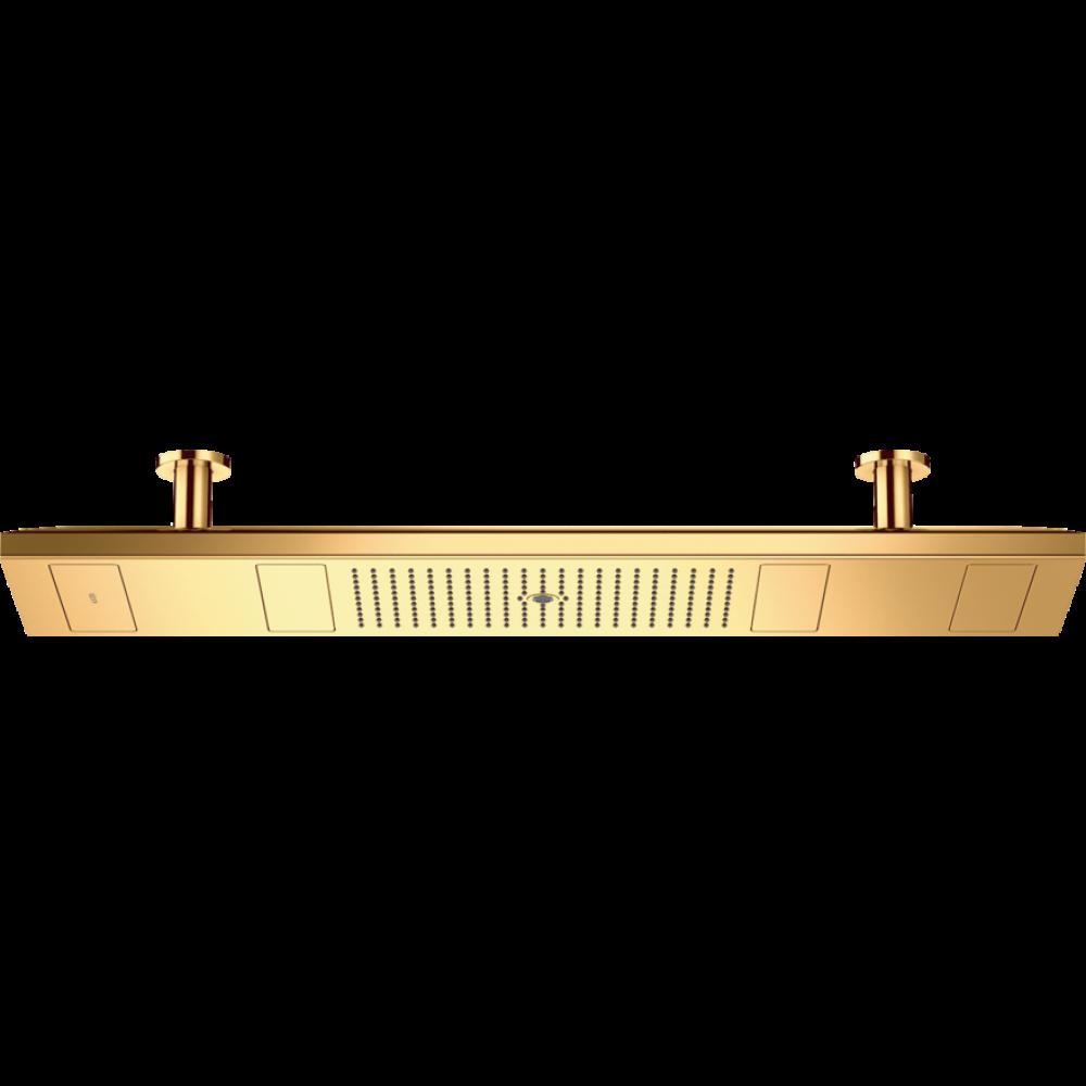 Тропический душ потолочный 1200/300 4 потока с хромотерапией 2700 K, 10628990, полир. золото